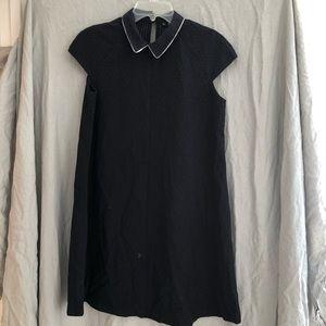 Zara Navy Blue Peter Pan Collar Shirt Dress